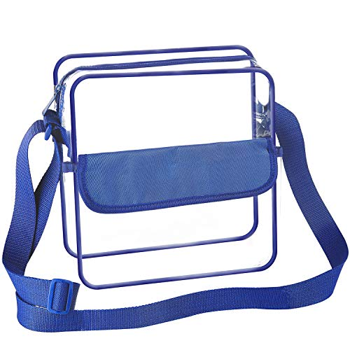 BAGAIL Clear Purse NFL &PGA Approved Cross-Body Shoulder Messenger Bag with Adjustable Strap (Royal Blue, 12x12x6inch)