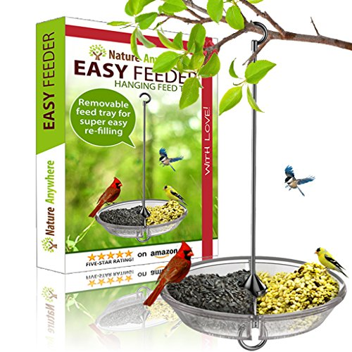 Nature Anywhere Large Hanging Bird Feeder 2020 Gift Edition with Unique Removable Dispenser, Unlimited Birdseed Air…