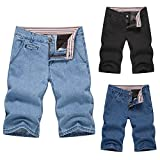 kingfansion Jeans Shorts Men's Boys Summer Denim Shorts Casual Sports Travel Stretch Jeans (2XL, Black)