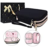 BUBM Double Layer Travel Jewelry Case Accessories Holder Organizer Storage Carrying Pouch with Mirror