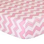Pink Zig Zag Print Fitted Crib Sheet - 100% Cotton Baby Girl Geometric Chevron Design Nursery and Toddler Bedding