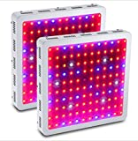 GOWE 2Pcs 1200W Double Chips Full Spectrum LED Grow Light 410-730nm For Indoor Plants and Flower Phrase Very High Yield