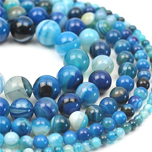 Oameusa Natural Round Smooth 4mm Blue Striped Agate Blue Agate Loose Beads Agate Beads for Jewelry Making 15