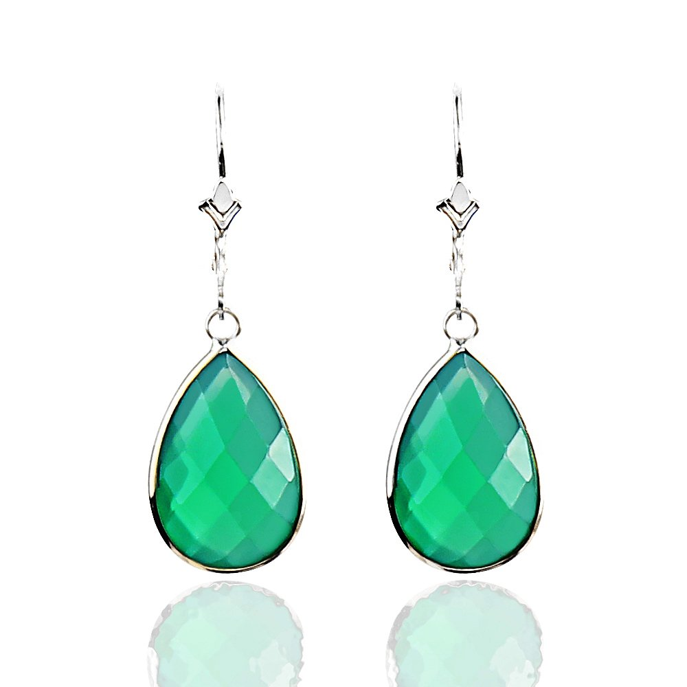 14K White Gold Handmade Earrings with Dangling Pear Shape Green Onyx