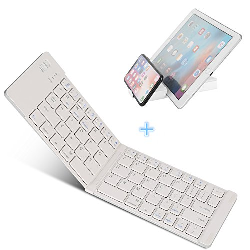 Bluetooth Folding Keyboard, IKOS Ultra Slim Pocket Size Foldable Keyboard For iOS / Android / Windows, iPad Mini, iPad Pro, iPhone, Smartphones, Windows, Smart TV, Tablets, With Rechargable Battery