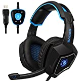 Sades SPIRITWOLF USB Version 7.1 Surround Sound Stereo Gaming Headset Headphones with Microphone, Over Ear, Noise Reduction, Volume Control, LED Light For PC Computer Gamers(Black Blue)