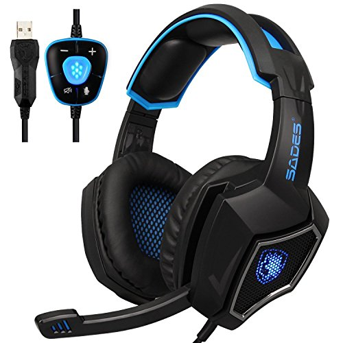 Sades SPIRITWOLF USB Version 7.1 Surround Sound Stereo Gaming Headset Headphones with Microphone, Over Ear, Noise Reduction, Volume Control, LED Light For PC Computer Gamers(Black Blue) (Earcup Headset Sealed)