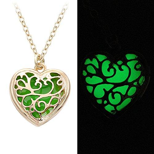 SENFAI 10K Gold Plated Magic Heart Charm Pendant Necklace