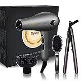 Travel Hair Dryer & Straightener & Comb Set,Tourmaline Ceramic...