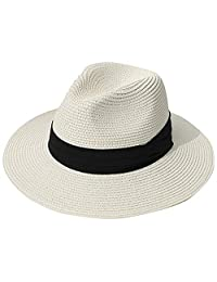 MAIPOETYRY Women Wide Brim Straw Panama Roll up Hat Fedora Beach Sun Hat