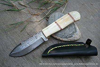 Cuchillo de Damasco Kyameru funda de piel de la hoja de ...