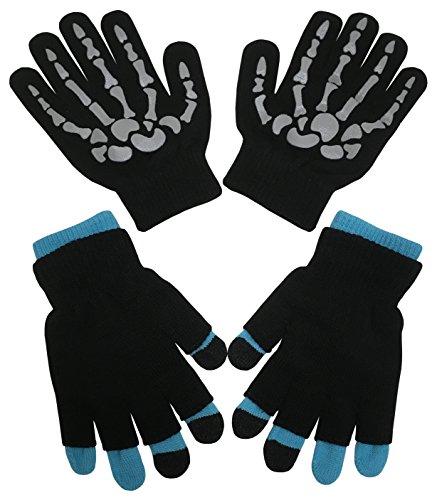 N'Ice Caps Boys Multi Pack Magic Stretch Glove Assortment (6-14yrs, Grey Skeleton/Neon Blue)