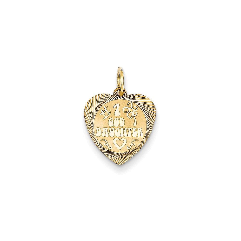 14k Yellow Gold Engravable #1 Goddaughter Heart Disc Pendant