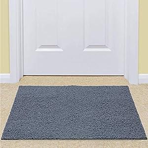 """Kuber Industries Rubber 1 Piece Door Mat 16×24"""" (Grey)"""