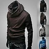 Electronics Men Best Deals - Junsi Men's Korean Slim Pullover Sweater Hoodie Cardigan Jacket Coat Sweatshirt Hooded Color Coffee Size XXL