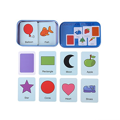 Photographic Cards Puzzle - Early Learning Flash Cards, Enlightment Toy Card with Iron Box Suitable for Kids Children Toddler Match Game Puzzle Card(Blue Box)