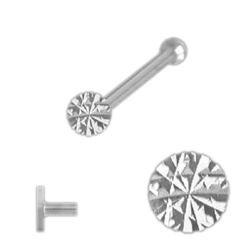 Nasenstecker 925 Sterling Silber L-Form 0,6 x 6 mm Kugel 1,5 mm Nasenpiercing