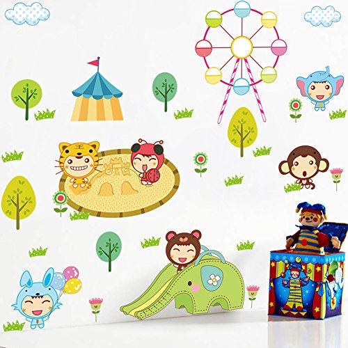 Boodecal Amusement Park Series Jungle Animals Playing Removable Wall Decals Mural for Kids Playroom Bedroom Nursery (Park Bedroom Series)