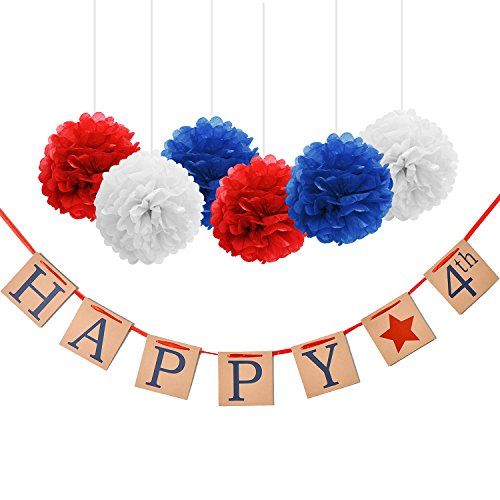Maxdot Happy July 4th Banner Independence Day Banner with 6 Pieces Paper Pom Poms Flowers for American Independence Day Party Home Decor Supply