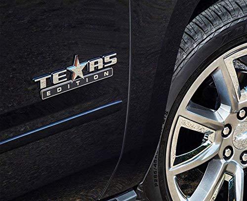 Yuauto 2 Pack Texas Edition Emblem 3M Self Stick On Badge for Chevrolet Sierra Chevy Silverado Suburban Tahoe Ford F150 Dodge Ram Nissan Titan Truck