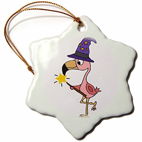 OneMtoss All Smiles Art Birds Cute Funny Pink Flamingo Witch or Wizard Halloween Cartoon Snowflake Porcelain -
