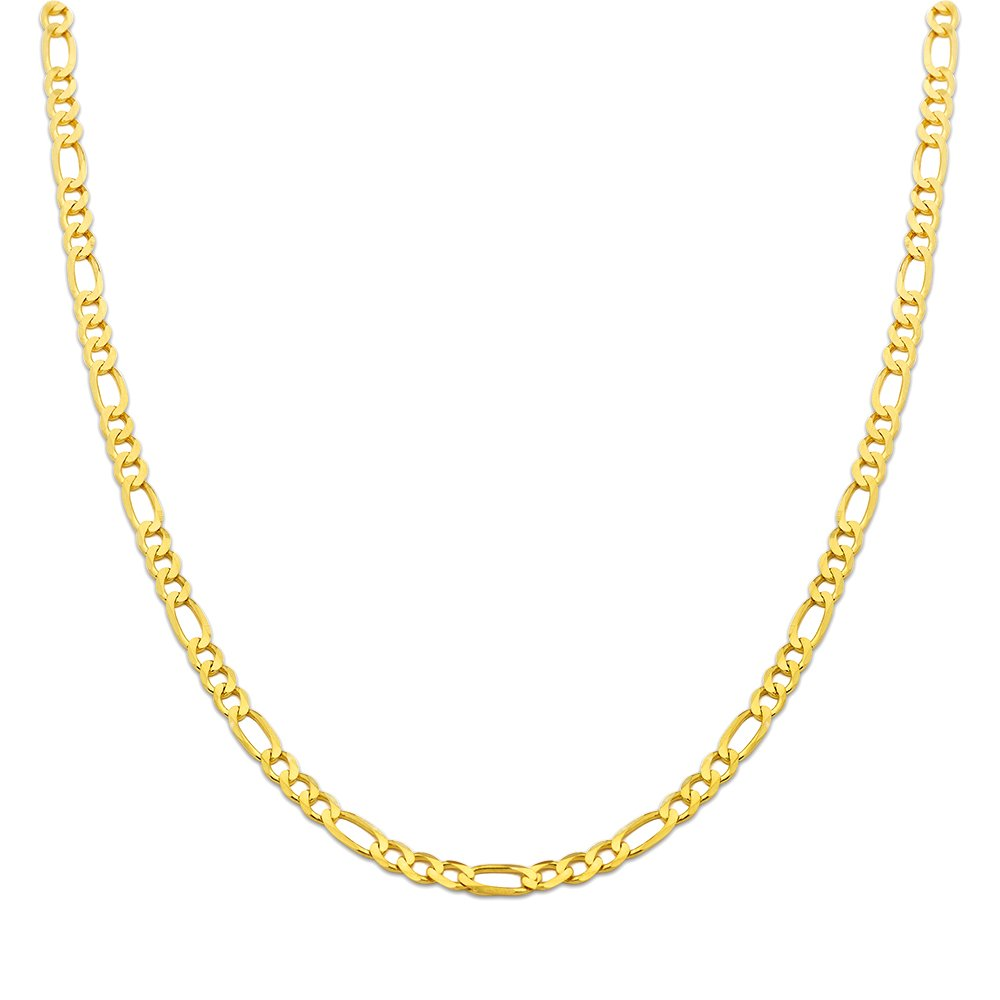 LoveBling 10K Yellow Gold Solid Figaro Chain Necklace, Available in 2mm to 6.5mm, 16'' to 30'' (4.5mm, 22'') by LOVEBLING (Image #2)