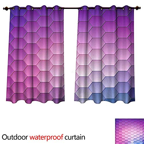 Outdoor Curtain for Patio Abstract Background Geometric Design Vector Illustration Geometric tesselation of Colored Surface Stained Glass Window s W96 x L72(245cm x 183cm)