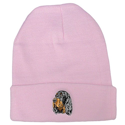 (Cherrybrook Dog Breed Embroidered Ultra Club Classic Knit Beanies - Pink - Gordon Setter)