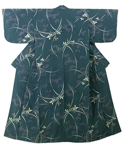 陰謀ジョットディボンドンチラチラするアンティーク 着物 正絹 袷 菊と蘭の花模様 裄60cm 身丈142cm