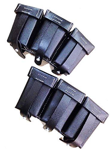 Wwii Uniform Set - WWII WW2 German K98 98K Triple Ammo Leather Pouch Set - Black (Reproduction.),WWII Reproduction, WW2 Reproduction,WWII/WWI, Collectibles Goods,Collectibles Products,WWII repro
