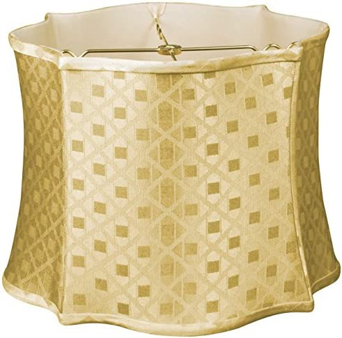 Royal Designs Fancy Scalloped Square Designer Lamp Shade, Gold, 14 x 15 x 11