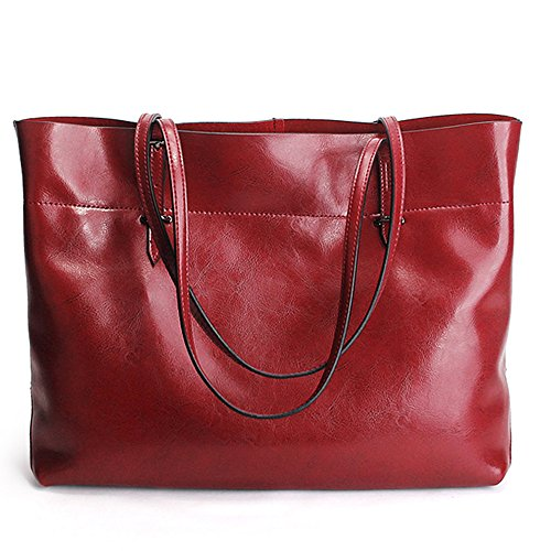 Wholesale Designer Handbag - SUNROLAN Women's Large Genuine Leather Shopping Handbag Style Multi-Purpose 2-1 Tote Shoulder Bags (large, Dark Red)