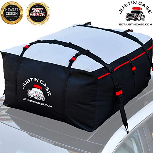 Justin Case Rooftop Cargo Carrier Bag – 19 Cubic Feet – Heavy Duty, Waterproof Car Top Carrier for Extra Car Roof Storage – Roof Bag Straps & Hooks Included, Works ()