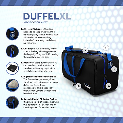 Shacke Duffel XL – Large Travel Duffel Bag – Foldable w/ Memory Foam Shoulder Pad