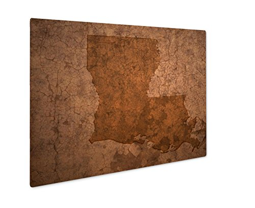 (Ashley Giclee Metal Panel Print, Louisiana State Map On A Old Vintage Crack Paper, Wall Art Decor, Floating Frame, Ready to Hang 16x20, AG6470626)