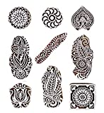 PARIJAT HANDICRAFT Printing Stamps Mughal Design Wooden Blocks (Set of 9) Hand-Carved for Saree Border Making Pottery Crafts Textile Printing