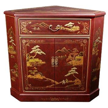 Oriental Furniture Japanese Corner Cabinet   Red Landscape