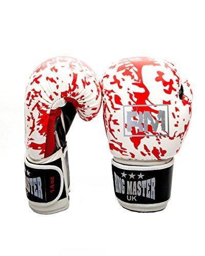 RingMasterUK Synthetic Leather Boxing Gloves Training Sparring (White/Red Camo, 10 -