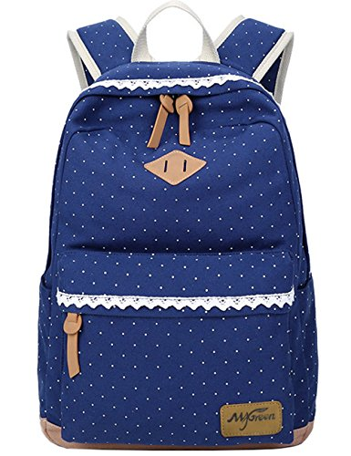 Mygreen Lightweight Casual Dot 14 Inch Laptop Backpacks Cute Girls Canvas Backpack for School Blue