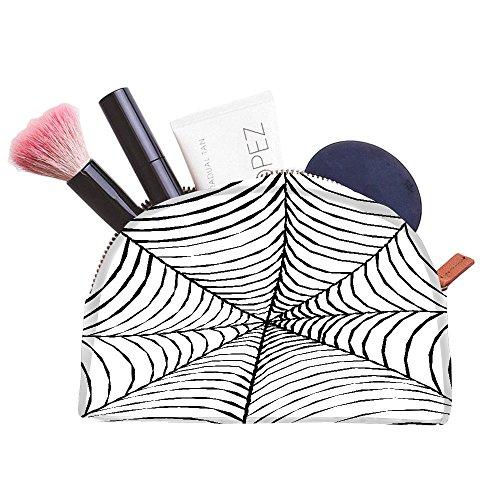 [Snoogg Black Spider Web Designer Multifunctional Canvas Pen Bag Pencil Case Makeup Tool Bag Storage Pouch] (Spider Web Eye Makeup)
