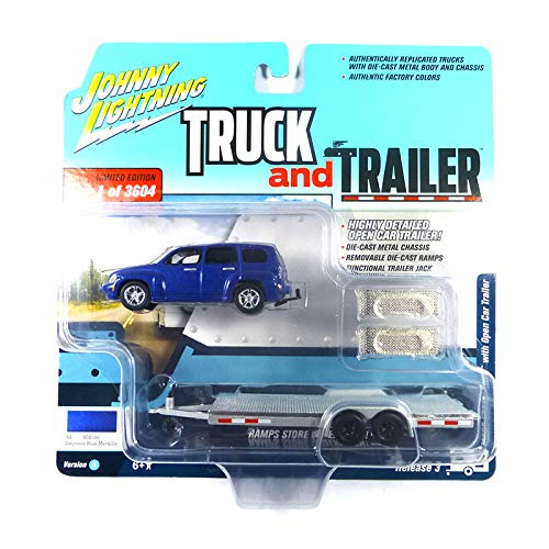 2006 Chevrolet HHR Daytona Blue with Chrome Open Car Trailer Limited Edition to 3,604 Pieces Worldwide Truck and Trailer Series 3 1/64 Diecast Model Car by Johnny Lightning JLSP035 A ()