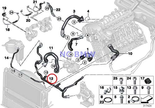 BMW Genuine Cooling Coolant Hose Heater Return - Thermostat Line 335xi 335xi 335xi