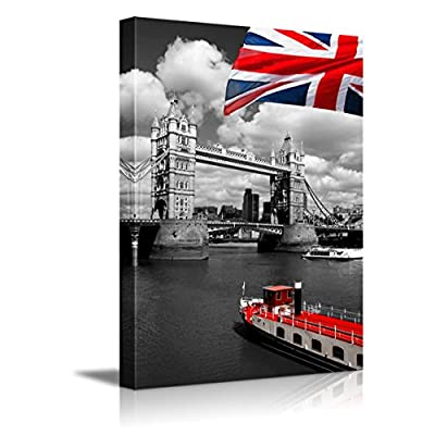 Canvas Prints Wall Art - Red Flag of England and Ship with Black and White London Tower Bridge on The Background- 12