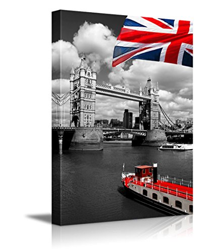 Red Flag of England and Ship with Black and White London Tower Bridge on the background