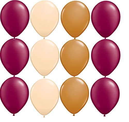 12 balloons NEW party BURGUNDY BLUSH MOCHA brown VINTAGE wedding colors DECOR bridal SHOWER