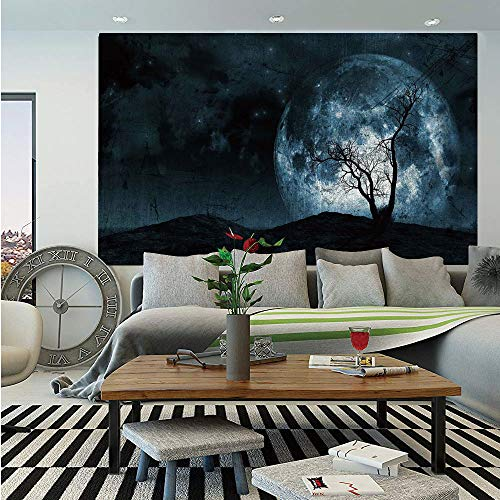 SoSung Fantasy Removable Wall Mural,Night Moon Sky with Tree Silhouette Gothic Halloween Colors Scary Artsy Background,Self-Adhesive Large Wallpaper for Home Decor 66x96 inches,Slate Blue -