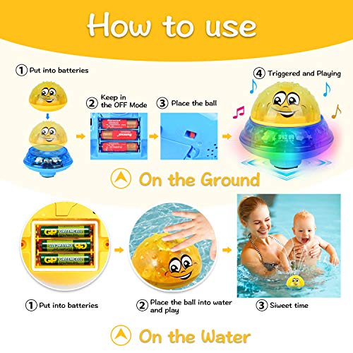 Baby Bath Toys, Mini Water Spray Bath Toy for Toddler Kids, Electric Induction Sprinkler Toys with Soft LED Lights for Baby Bath (Yellow with Base)
