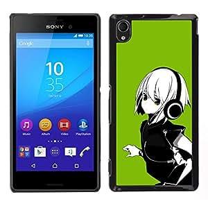 // PHONE CASE GIFT // Duro Estuche protector PC Cáscara Plástico Carcasa Funda Hard Protective Case for Sony Xperia M4 Aqua / Green Anime Girl /