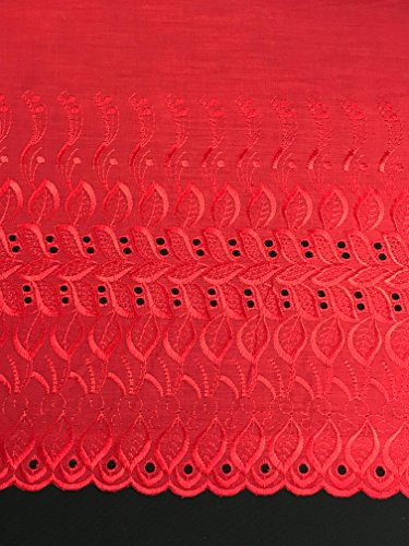 (One Side Border Eyelet Poly Cotton Fabric by The Yard (red))