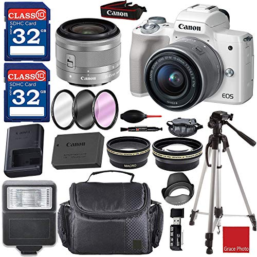 Canon EOS M50 Mirrorless Digital Camera (White) with 15-45mm Lens + 2 Piece 32GB Memory Cards + Camera Padded Case + Deluxe Accessory Bundle